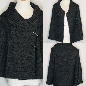 Tibi Grey Short Cape Cardigan Style alpaca/wool sm